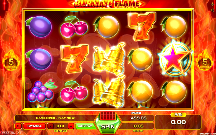GameArt is the software developer behind the production of Burning Flame Slot.In the USA GameArt's unique concept has helped the brand gain a positive reputation.The slot's theme has been designed to bring back the classic slots fruit symbols, but over 5 reels instead of 3.Players will be connecting plenty of symbol combinations and scatter multipliers; while using a gamble .Dicle