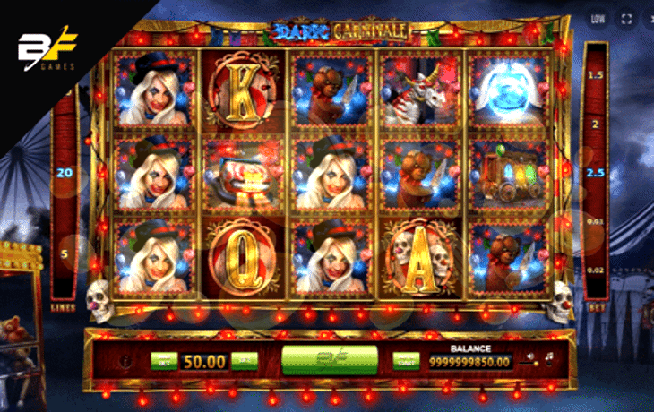 Creepy, Dark Carnivale™ video slot will freak you out! If you're brave enough, you can count on Wild, Scatter and Stacked Symbols to bring you happiness and help to survive in this ghastly place.Playing in Free Spin mode and multiplying wins in Gamble Game will make you forget about fear.